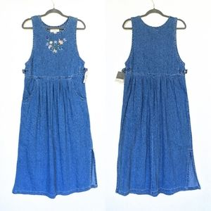 LORD & TAYLOR embroidered denim pinafore dress